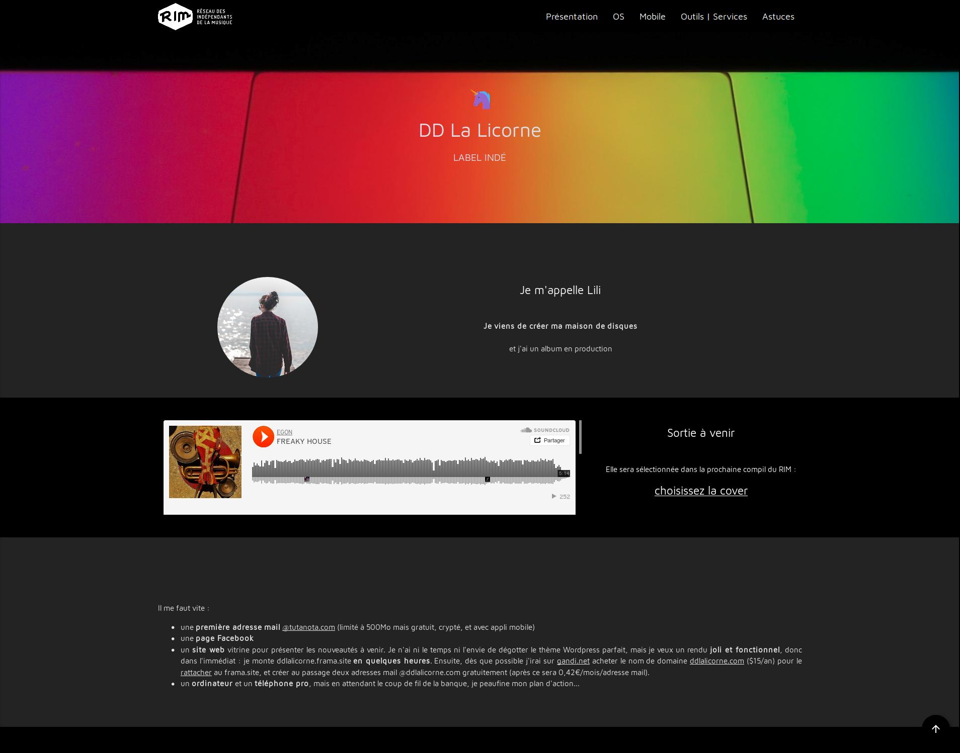 DD La Licorne, le site libre et pro du label indé créé par Lili