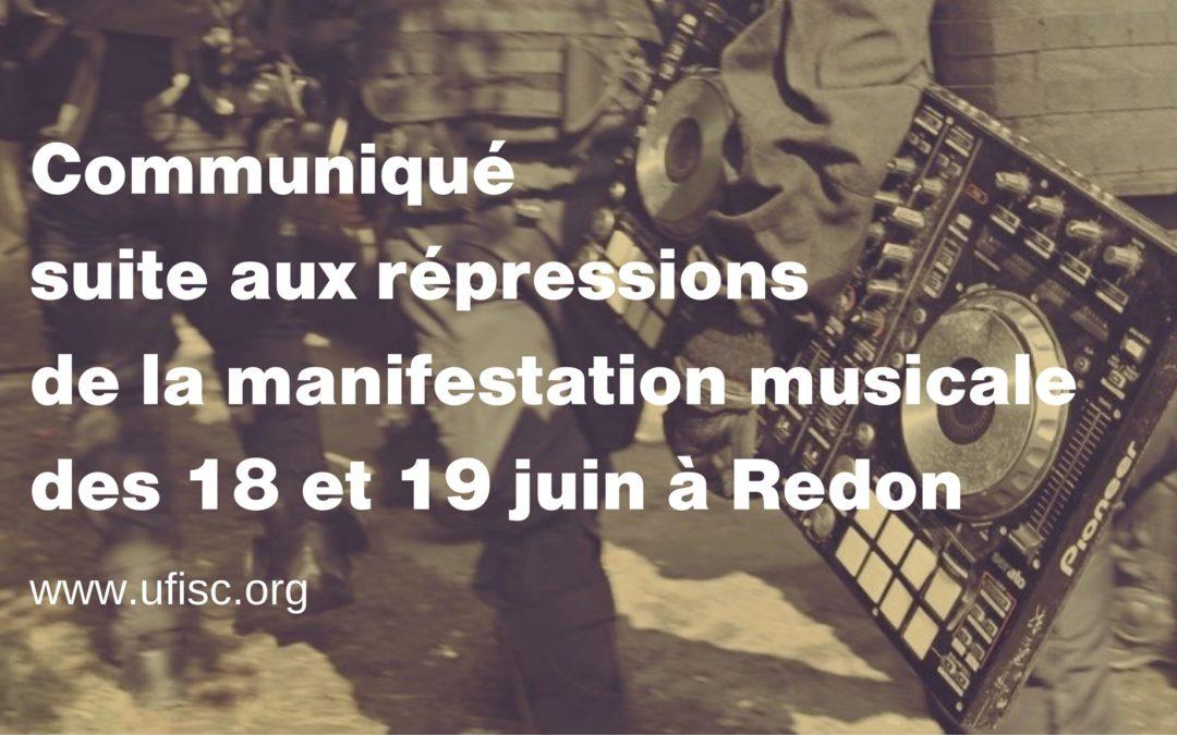 [COMMUNIQUÉ] suite aux répressions de la manifestation musicale des 18 et 19 juin à Redon